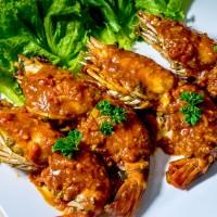 กุ้งแม่น้ำราดซอส Miss Mon ขนาด10-12ตัว/โล/Fried Prawn With Miss Sauce 10-12pcs/Kg