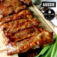 ซี่โครงหมูบาร์บีคิวส่วนซี่โครงอ่อน รสออสซี่ (Aussie BBQ Baby Back Ribs)