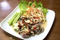 หมูมะนาว Boiled Pork with Lime Garlic and Chili Sauce