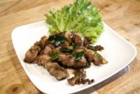 หมูสามชั้นผัดกระปิแซ่บ Stir Fried Pork belly with shrimp paste
