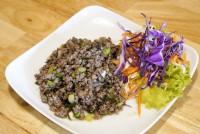 หมูสับผัดหนำเลี๊ยบ Stir Fried minced pork with shinese black olive