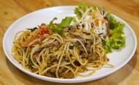 สปาเก๊ตตี้หมูสับผัดกะเพรา Spaghetti with spicy Ground Pork