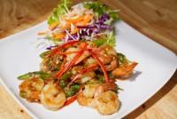 กุ้งผัดใบกระเพรา Spicy fried prawn with basil leaves