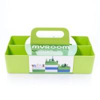 ถาดใส่ของพร้อมหุหิ้ว Color container with handle Green